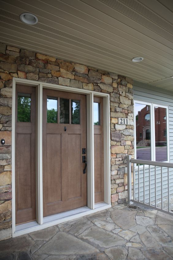 Exterior doors craftsman style front door with stone for Exterior door styles