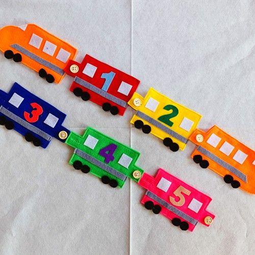 知育玩具新幹線数字いりボタン練習 手作りおもちゃ 3歳 手作りおもちゃ 保育園 手作りおもちゃ 1歳