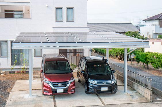2台用ソーラーカーポート カーポート ソーラー 屋根