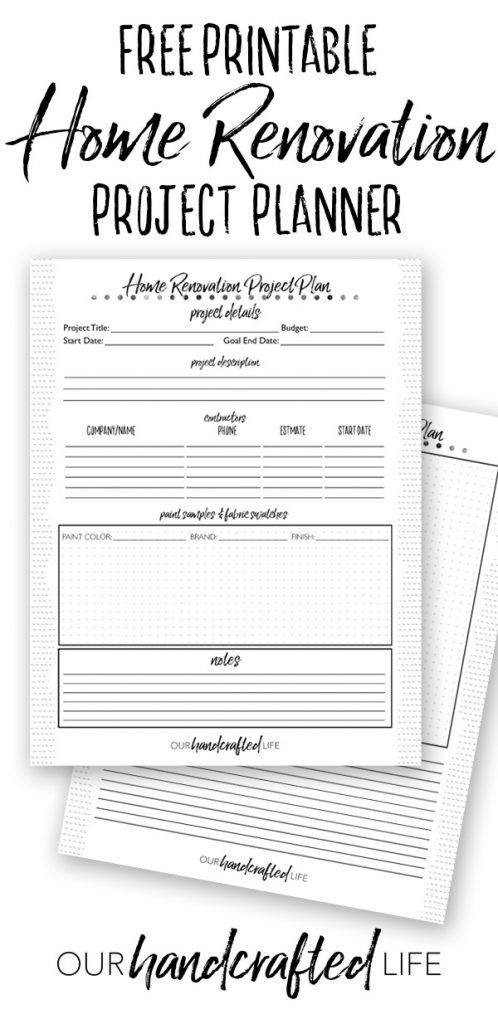 Home Renovation Planner Free Printable Diy Home Reno Project Planner Our Handcrafted Life Renovation Planner Project Planner Printable Project Planner