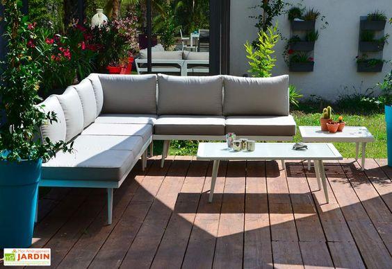 Salon De Jardin Bas D Angle En Aluminium Blanc 5 Places Boheme Givex Salon De Jardin Encastrable Amenagement Jardin Amenagement Jardin Recup