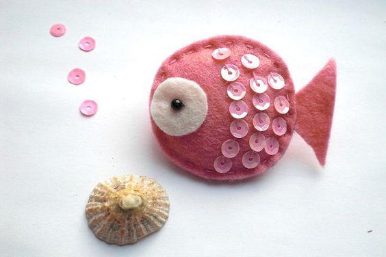 Felt Fish Brooch in Pink Felt Brooch Fish Brooch Fish by UrbanOwls, £6.00