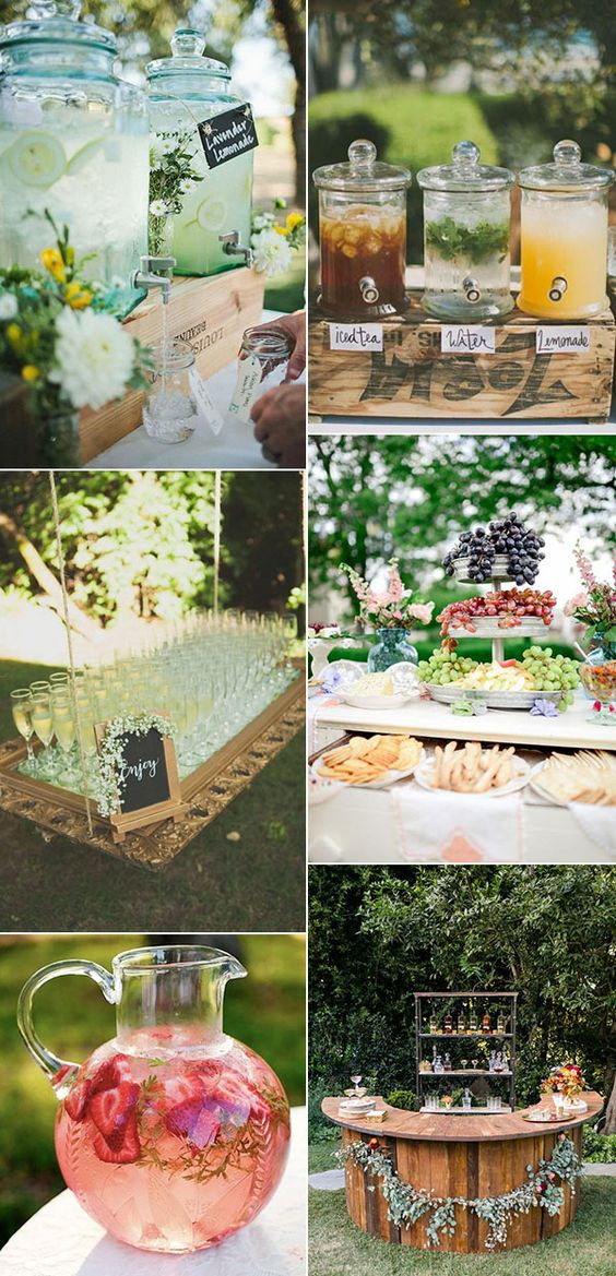 food and drinks serving ideas for garden wedding trends 2017: