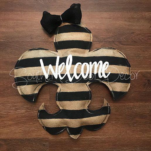 Black And Gold Striped Fleur De Lis Door Hanger Website Gold Stripes Recycled Plastic Bags Burlap Bows