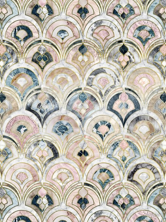 Art Deco Marble Tiles in Soft Pastels by micklyn | Pattern and Print Love |  Pinterest | Art deco, Marble tiles and Art deco tiles