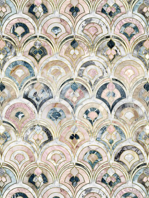Art Deco Marble Tiles in Soft Pastels von micklyn