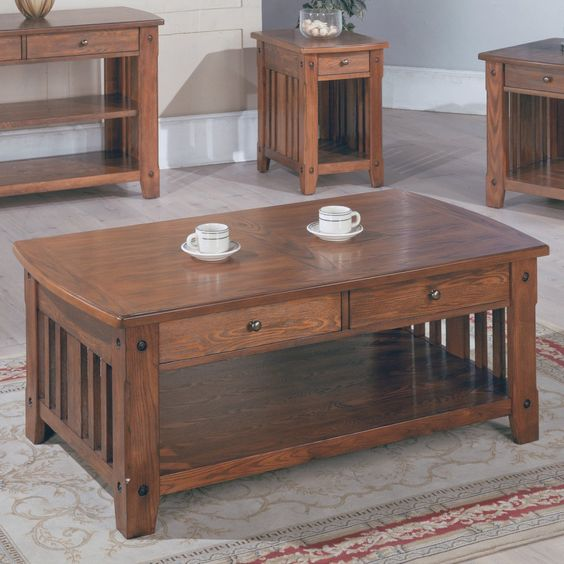 Parker House Mission Rectangular Cocktail Table With Drawers Homey Shaker Mission Style Sturdy