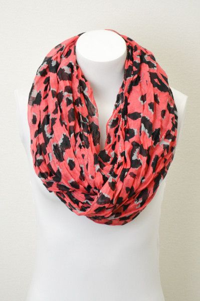 Coral Leopard Infinity Scarves