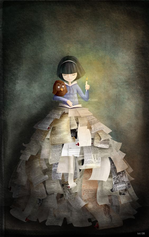 girl with books: