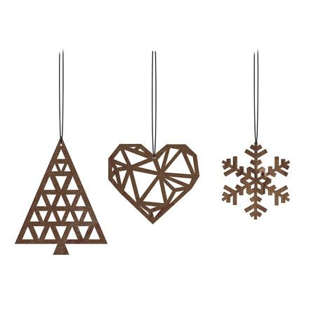 The X-Mas hangers by Novoform made of walnut wood with a fir tree, a heart and a snowflake.