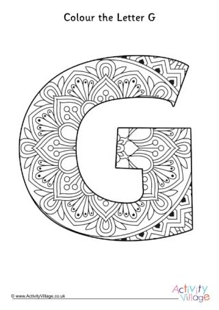 Illuminated Letter G Colouring Page In 2021 Alphabet Coloring Pages Coloring Pages Mandala Coloring