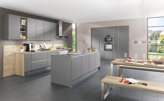 Grey kitchen design with grey walls, grey doors and grey - led lichtleiste küche