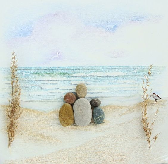 Custom Family Gift Pencil Drawing Pebble Art Work. ... awwww I can hear the waves can you?