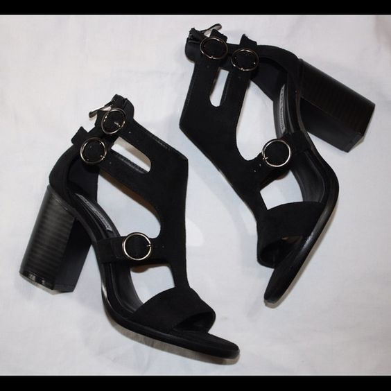 "Black cutout shoes New 3""heel trades holds ⚠️firm on price unless bundling Shoes Heels"