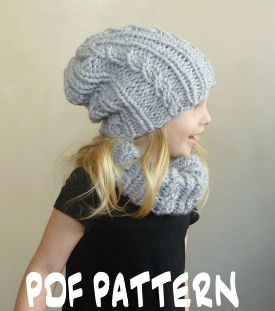 Children s Hat And Scarf Knitting Pattern : Knitting PATTERN Baby Cabled Hat Cowl Set, Toddler Slouchy Beanie Scarf Patte...