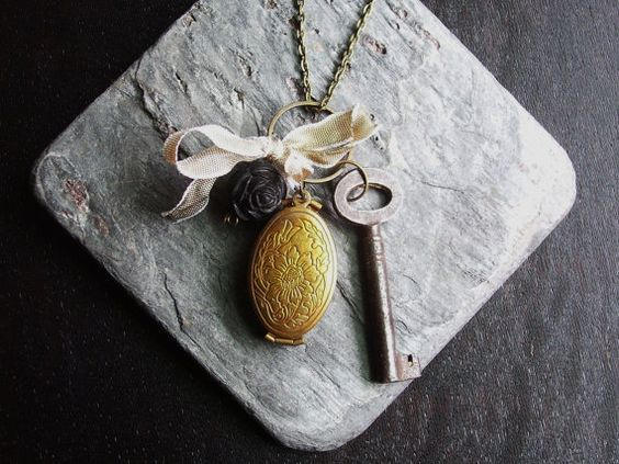 Vintage romantic locket cluster necklace with key