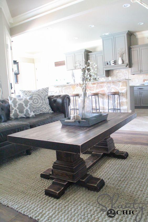 We home and pedestal on pinterest for Diy square pedestal table