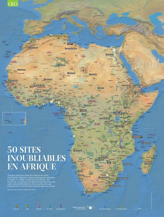 Poster 50 places you must see in Africa. Texts by Jules Prévost, artwork by Hugues Piolet for GEO Magazine.
