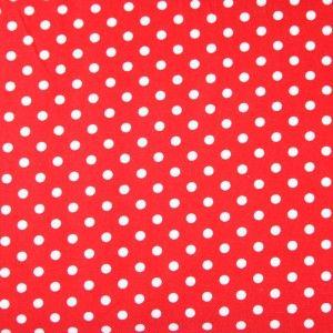 Tissu rouge à pois blancs