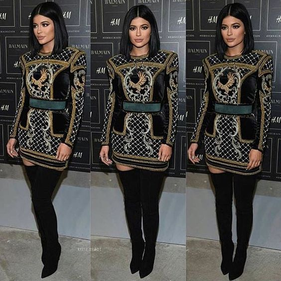 The beautiful @kyliejenner dressed in #Balmain X #HandM #style #fashion #kylieJenner