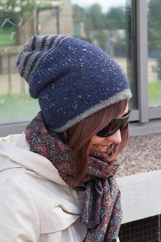 Шапка Бини Шапка чулок вязаная БЕННИТА джинс – купить в интернет-магазине на Ярмарке Мастеров с доставкой - 9Z5WJRU | Санкт-Петербург