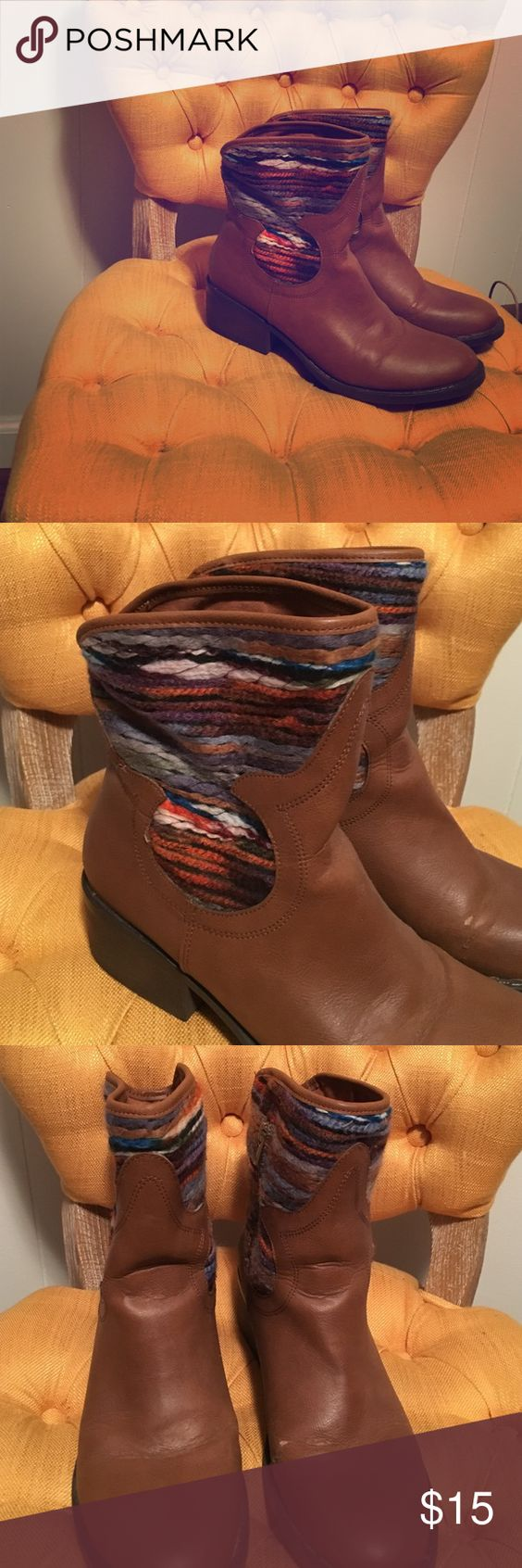Fall Booties Fun and Unique Design. A little wear in tear that is pictured. Shoes Ankle Boots & Booties
