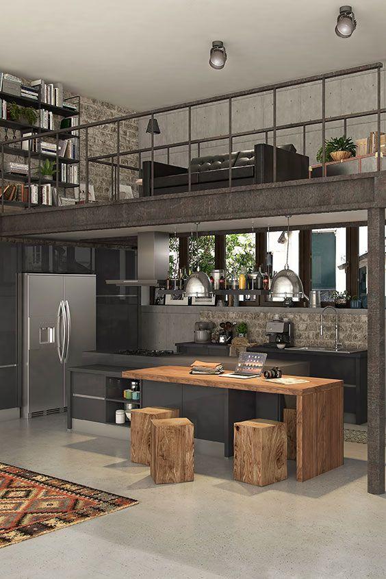 Cuisine ouverte de style industriel noire et bois façon loft