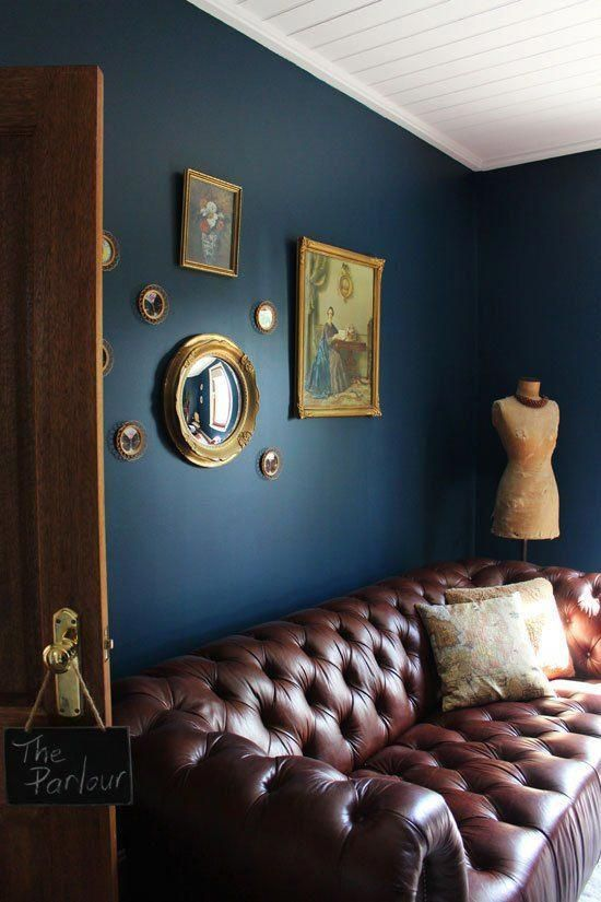 Peachy Deep Blue Walls Google Search In 2019 Brown Leather Sofa Gmtry Best Dining Table And Chair Ideas Images Gmtryco