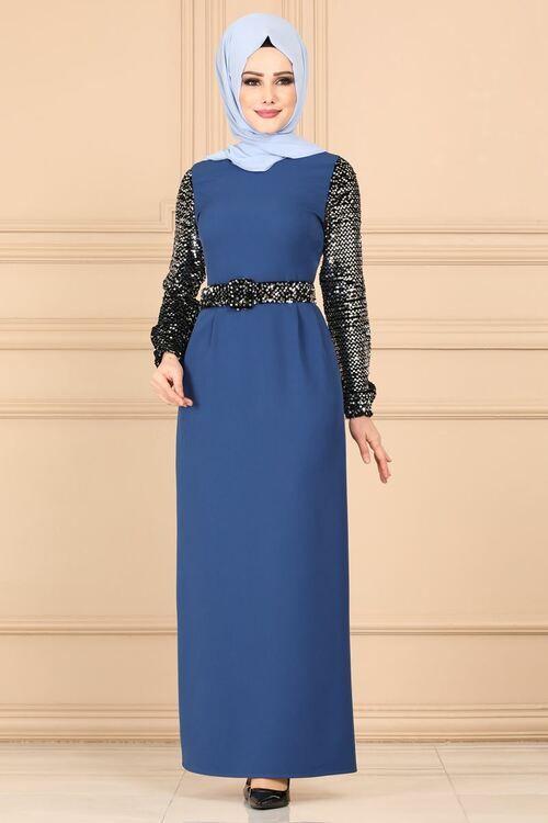 Modaselvim Elbise Kollari Payetli Tesettur Elbise 5660mp186 Indigo Elbise Indigo