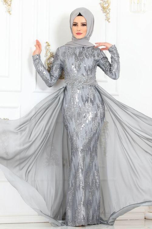 Modaselvim Abiye Sifon Kuyruklu Balik Abiye Pn2029 5 Gumus Moda Stilleri Musluman Modasi Elbiseler