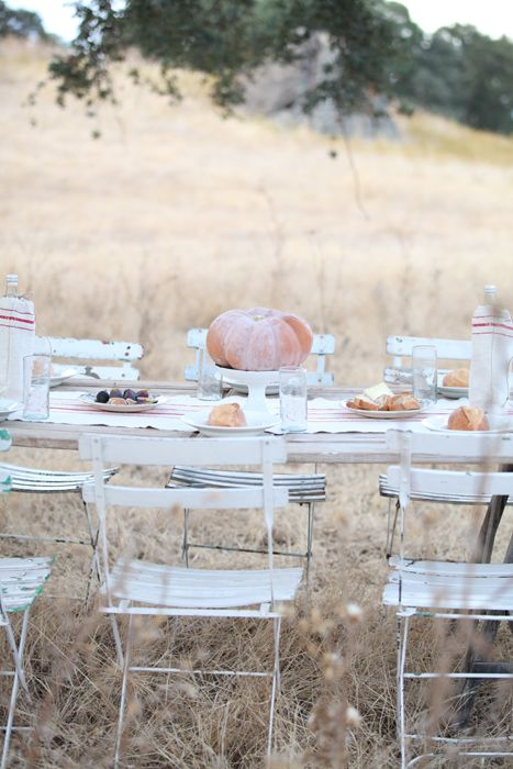 Dreamy Whites: An Autumn Inspired French Farmhouse Table, French Heirloom Pumpkins, Vintage French Kindergarten Chair: