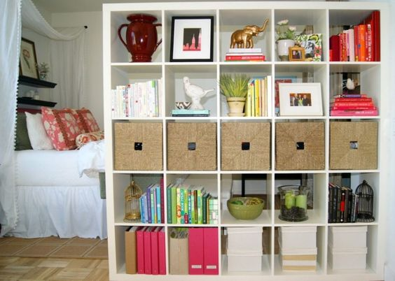 Interior , unique room divider ideas without walls : bookshelf as ...