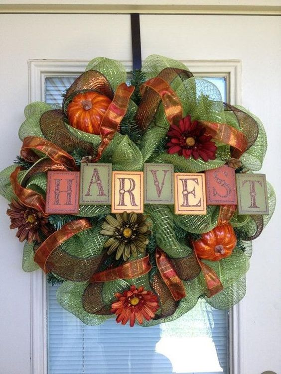 Harvest Green Mesh Wreath Crafts with Pumpkin, Flower - 2015 Thanksgiving Door Wreath, Ribbon,