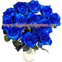 Blue Rose In a Vase 12 Pcs Imported Blue rose in a clear glass vase.  You can send your inquiry:  Email us: info@regaloph.com Contact us: +63-02-44-4444 Website: Regaloph http://regaloph.com Facebook: Regaloph.com fan page
