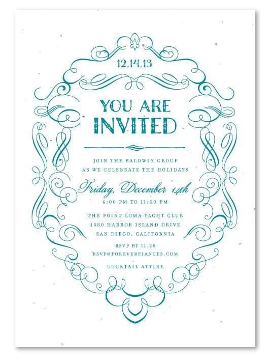 Elegant Business Invitations ~ Formal Scrolls - gala invitation wording