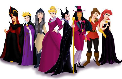 Disney Princesses swap outfits with their villains.