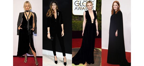 From Bianca Brandolini's stylish suit on the front row of Armani Privé and Kirsten Dunst's luxurious Valentino gown, to Lady Gaga in retro Hollywood glamour and Julianne Moore in a Valentino couture cape, black velvet has made a big comeback on the red carpet as one of the major trends of the season. Stand-out velvet in the spotlight.