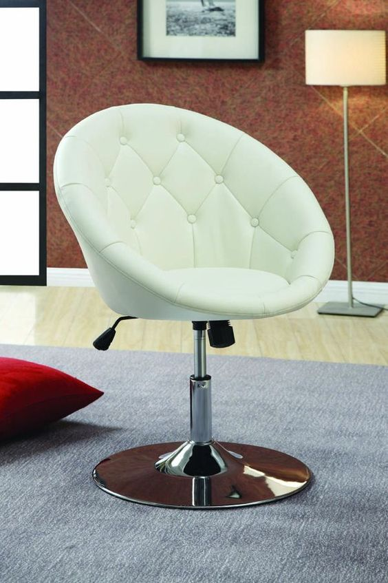 Contemporary White Leather-Like Vinyl Metal Swivel Chair