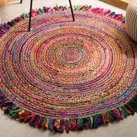 Abhay Handmade Flatweave Jute Sisal Cotton Red Ivory Area Rug Round Braided Rag Rugs