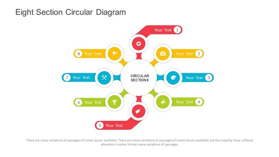Eight Section Circular Diagram for PowerPoint. Fully editable instantly…