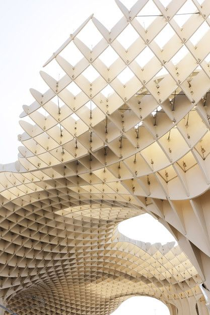 Parasol in Seville, Spain. World's largest wooden structure is bound by glue. By J. Mayer H. Architects.: