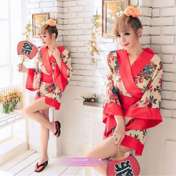 Sexy Woman Girl Kimono Dress Japanese Sakura Geisha Cosplay Halloween Costume #Sexyshop09 #Dress