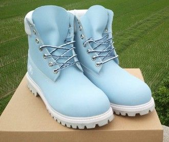 shoes baby blue timberland boots @babizay                                                                                                                                                                                 Plus