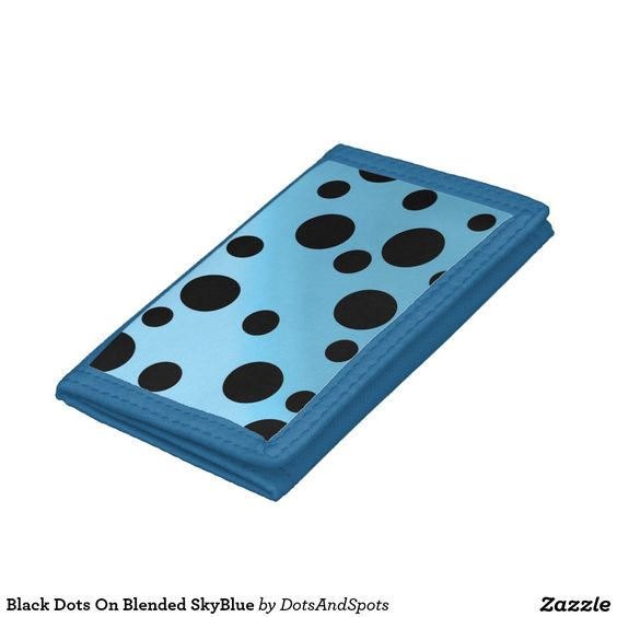 Black Dots On Blended SkyBlue Tri-fold Wallets