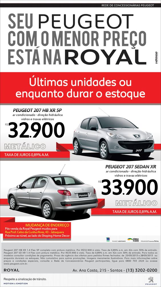 Anúncio Peugeot Royal - Maio 2013