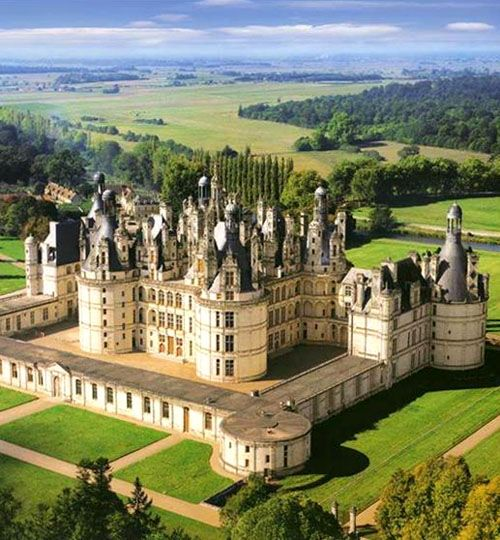 The Royal Château de Chambord, Chambord, Loir-et-Cher, France... http://www.castlesandmanorhouses.com/photos.htm ... The building, which was never completed, was constructed by King Francis I of France. The royal Château de Chambord is one of the most recognizable châteaux in the world because of its distinctive French Renaissance architecture which blends traditional French medieval forms with classical Renaissance structures.