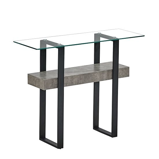 Triton Glass Console Table With Light Concrete And Black Metal Furniture In Fashion Glass Console Table Console Table Black Metal Shelf