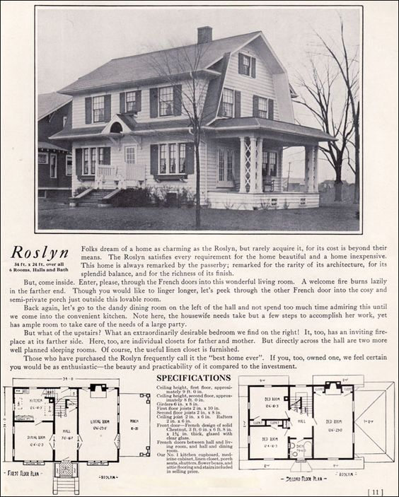 1922 dutch colonial revival the roslyn 1920s kit for Dutch revival house plans
