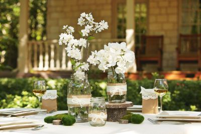 Twine and Yarn Wrapped Glass Vases: Wedding Decoration, Wedding Ideas, Mason Jars, Glass Jars, Party Ideas, Jar Centerpieces, Diy Centerpieces, Center Pieces