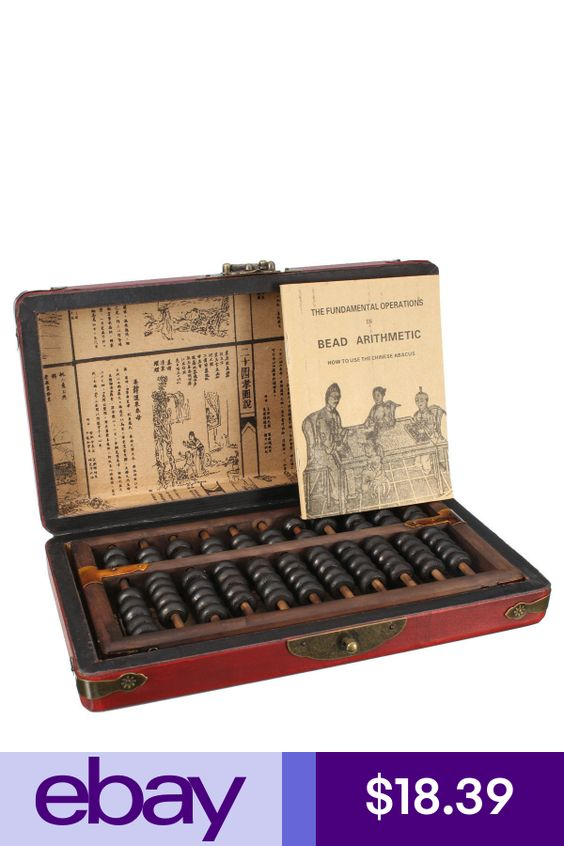 Vintage Chinese Wooden Bead Arithmetic Abacus With Box Dragon /& Phoenix Pattern